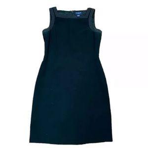 Ann Taylor black sheath dress w/ white stitching